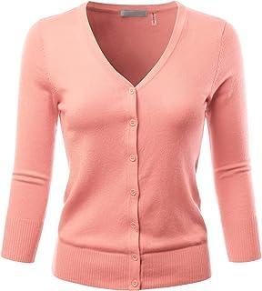 EIMIN Damen Strickjacke mit 3/4-Ärmeln, V-Ausschnitt, Knopfleiste, Stretch-Strickjacke, Pullover (S-3X)