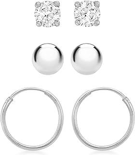 Tuscany 纯银球/方晶锆石/环形 3 耳环套装