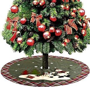 YGSYSC Frontière De Plaid De Jupe Darbre De Noël, Tapis D'ornement d'arbre De Noël De 48 Pouces / 122 cm pour La Décoration De Fête De Noël (Bonhomme De Neige)