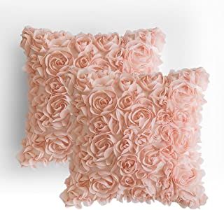 MIULEE Pack of 2 3D Decorative Romantic Stereo Chiffon Rose Flower Pillow Cover Solid Square Pillowcase for Sofa Bedroom Car 16x16 Inch 40x40 cm Peach Pink