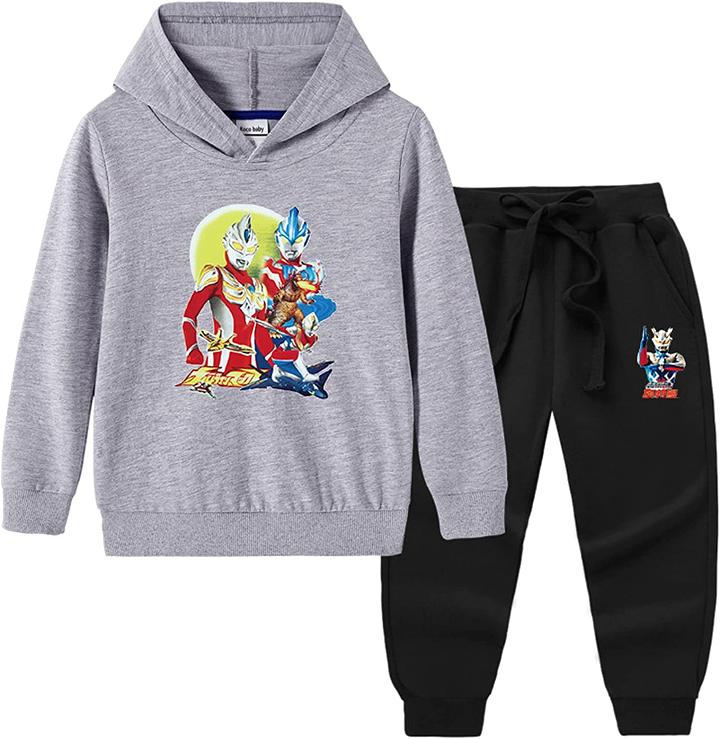 GD-Clothes Unisex Ultraman Sweatshirt and Pants 2 Pieces Outfits Sweatsuit Long Sleeve Hoodie Set for Boys Girls