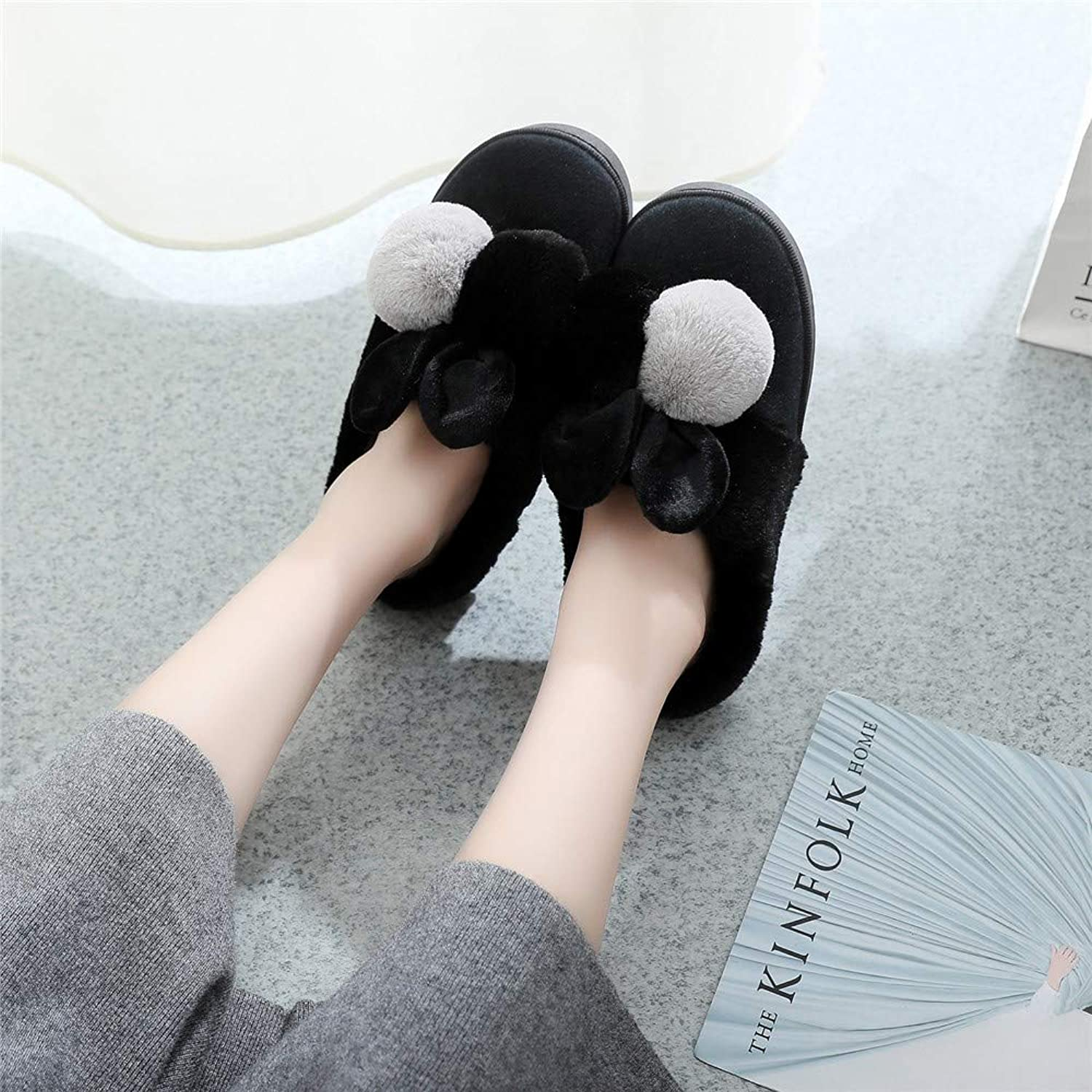 NIGHT WALL Comfortable Slip-on Winter Cartoon Ball Rabbit Ears Women's Home Cotton Slippers (Pink) House shoes Indoor & Outdoor