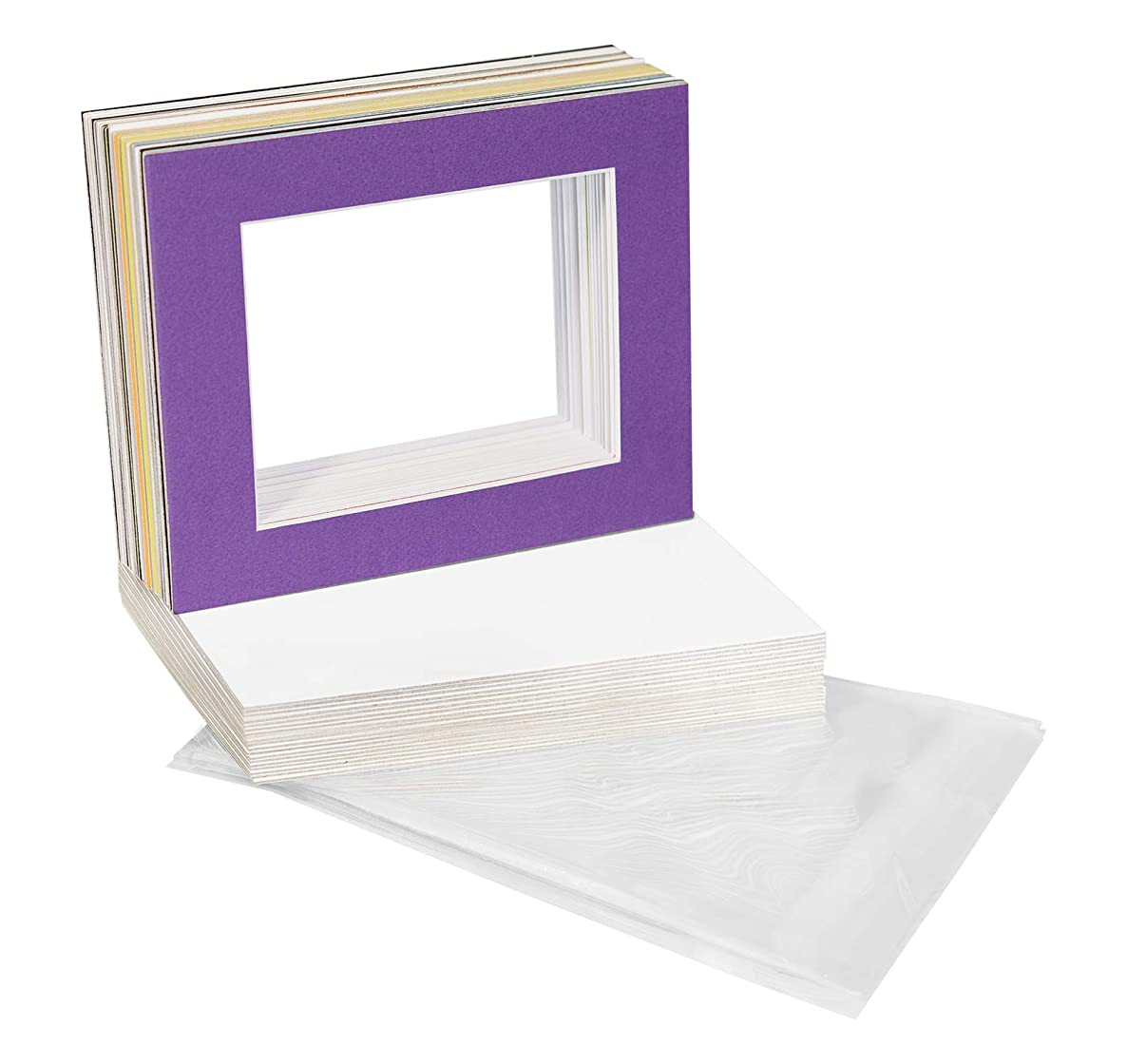Golden State Art, Pack of 25 Mixed Colors Pre-Cut 16x20 Picture Mat for 11x14 Photo with White Core Bevel Cut Mattes Sets. Includes 25 High Premier Acid Free Matts & 25 Backing Board & 25 Clear Bags