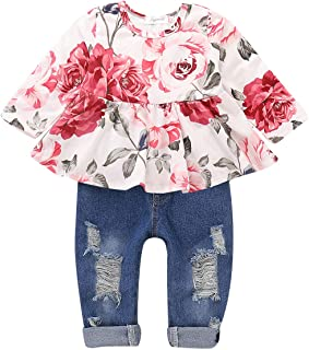 Toddler Baby Girl Clothes Outfits, Cute Baby Girl Floral Long Sleeve Jeans Pant Set Ruffle Outfits for Fall