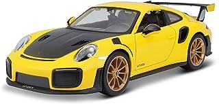 نموذج سيارة بمقياس 1/24 مصنوع بتقنية صب المعادن بتصميم خاص لسيارة بورش 911 جي تي 2 ار اس باللون الاصفر مع غطاء محرك من الك...