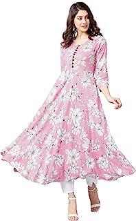 Tissu Women Pink & White Floral Printed A-Line Kurta