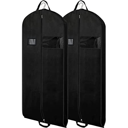 GEMITTO Set of 2 Breathable Garment Bag Foldable Suit Bag with Handles Dustproof Travel Clothes Cover for Coats