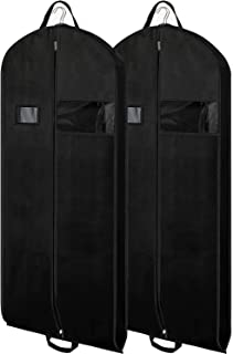 Zilink Black Garment Bags Suit Bags for Travel 54 inch Breathable Dresses Cover Bag with Gusseted, Clear Window and ID Card Holder for Suit, Coat, Dress,Set of 2