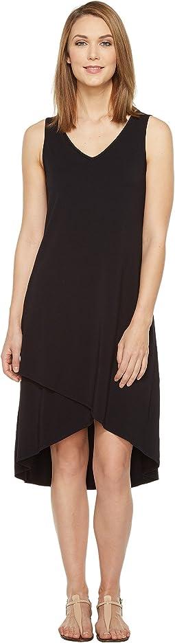 Cotton Modal Spandex Jersey Crossover Hem Dress