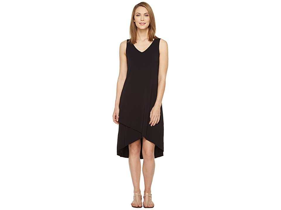 Mod-o-doc Cotton Modal Spandex Jersey Crossover Hem Dress (Black) Women