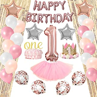 1st Birthday Decorations for Girl Pink White Silver Gold Theme | Tiara Hat One' Cake Topper + Assorted Colors Latex Balloons 46Piece Value Pack Party Supplies Bundle for Cute Kids + Ideal Gift Idea