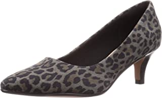 Clarks Linvale Jerica Grey Leopard Print Suede Leather Womens Kitten Heel Court Shoes