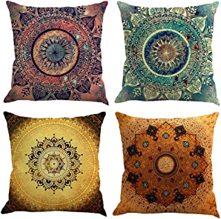 Gspirit 4 Pack Retro Mandala Bohemia Algodón Lino Throw