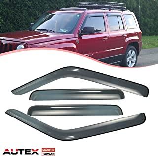 AUTEX Tape On Side Window Deflector Compatible with Jeep Patriot 2007 2008 2009 2010 2011 2012 2013 2014 2015 2016 2017 Window Visor Tape On Rain Guard 4Pcs Made in Taiwan