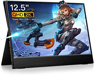 Eyoyo Portable Monitor - Eyoyo USB C Monitor 12.5 inch IPS LCD Monitor 2K 2560x1440 Laptop Second Display Screen for Computer Mac Phone Xbox Switch PS4 for Traveling Working Gaming
