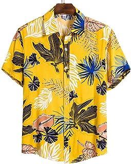 Verano Hombres Camisas Casuales Moda Hawaiana Impreso de Manga Corta Camisas de Playa Holiday Streetwear-CS135_L