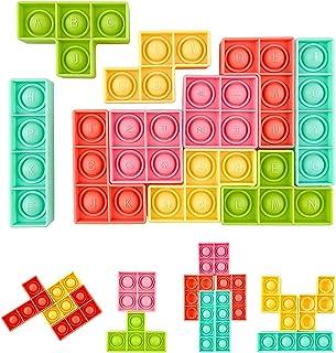HICITI 10 Pcs Push Pop Bubble Sensory Fidget Toys, Tetris Jigsaw Puzzle Toys for Autism Special Needs Stress Relief Silico...