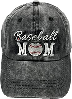 LOKIDVE Women`s Baseball Mom Hat Embroidered Washed Cotton Denim Cap