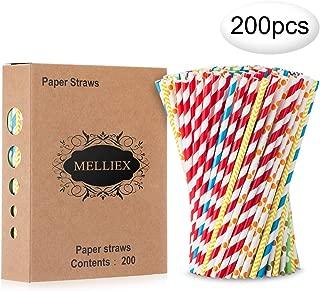 MELLIEX Pajitas de Cristal pajitas Reutilizables Biodegradable/Reusable Glass Straws para Fiesta Cumplea/ños Boda Festival Set De 8 con 2 Cepillos De Limpieza 4 largas y 4 Cortas