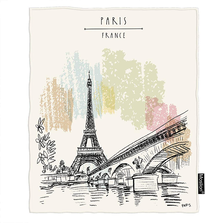 Moslion Paris Blanket Eiffel Tower in France Bridge Water Flower Leaves Throw Blanket Flannel Home Decorative Soft Cozy Blankets 60x80 Inch for Adults Kids Sofa Beige