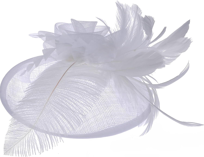 Tea-Party Fascinators-Hat-Women Girls Kentucky Derby Hat Fascinator Mesh Feather Headband for Wedding Cocktail