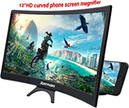 jteman 12'' Curved Screen Magnifie Mobile Phone 3D Magnifier Projector Screen for Movies, Videos, and Gaming Foldable Phone Stand with Screen Amplifier for iPhone,All Smartphones