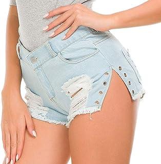 デニムショートパンツ 女性のセクシーなカットオフローウエストデニムジーンズショーツミニホットパンツ デニムジャンショーツ (サイズ : S)