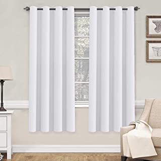 H.VERSAILTEX White Curtains 72 inches Long for Living Room Thermal Insulated Window Treatment Panels/Drapes - (White Color) - Set of 2 - Grommet Top