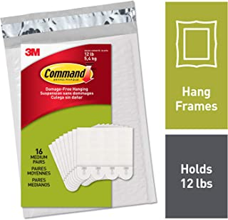 Command 12 lb Picture Hanging Strips, 16 pairs (36 strips), Indoor Use (PH204-16NA)