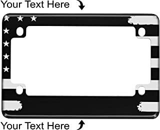 Sponsored Ad - Motorcycle Personalized Patriotic American Flag Anodized Aluminum Custom License Plate Frame (Black)