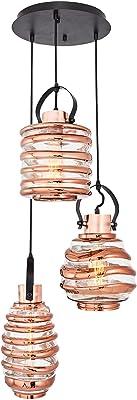 Homemania Lampada a Sospensione Atlantik Lampadario, da Soffitto, Multicolore in Vetro, Metallo, 35 x 35 x 120 cm, 3 x Max 40W, E27