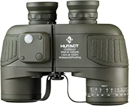 HUTACT Military Binoculars for Adults 10x50, Built-in Compass and Range Finder, for Bird Watching Large Eyepiece Lens, Large Field of Vision, Suitable for Hunting, Cross-Country and Travel