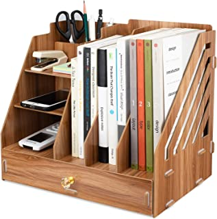 Tonsmile Office Wooden Stationery Desk Tidy Storage Organiser Holder Sorter for A4 Papers, Books, Pens, and Notebooks