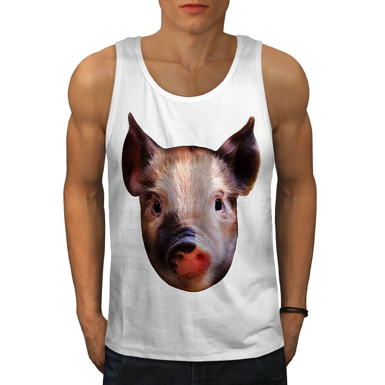 Wellcoda 豚 ファーム 面 可愛い 動物 男性用 S-2XL タンクトップ