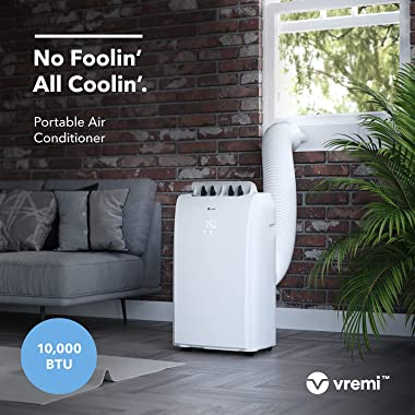 Vremi 10,000 BTU Portable Air Conditioner for 150 to 250 Sq Ft Rooms - Powerful AC Unit with Cooling Fan, Wheels, Reusable Fi