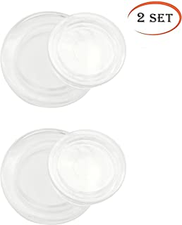 UFelice 2 Inch Standard Size Patio Umbrella Hole Cap, Garden Parasol Glass Table Hole Caps and Ring Plug Set for Outdoor Table (Transparent, 2 Set)