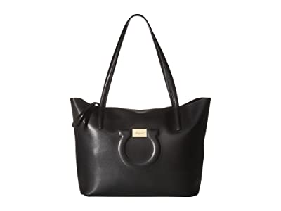 Salvatore Ferragamo 21H019 City Tote (Nero) Tote Handbags