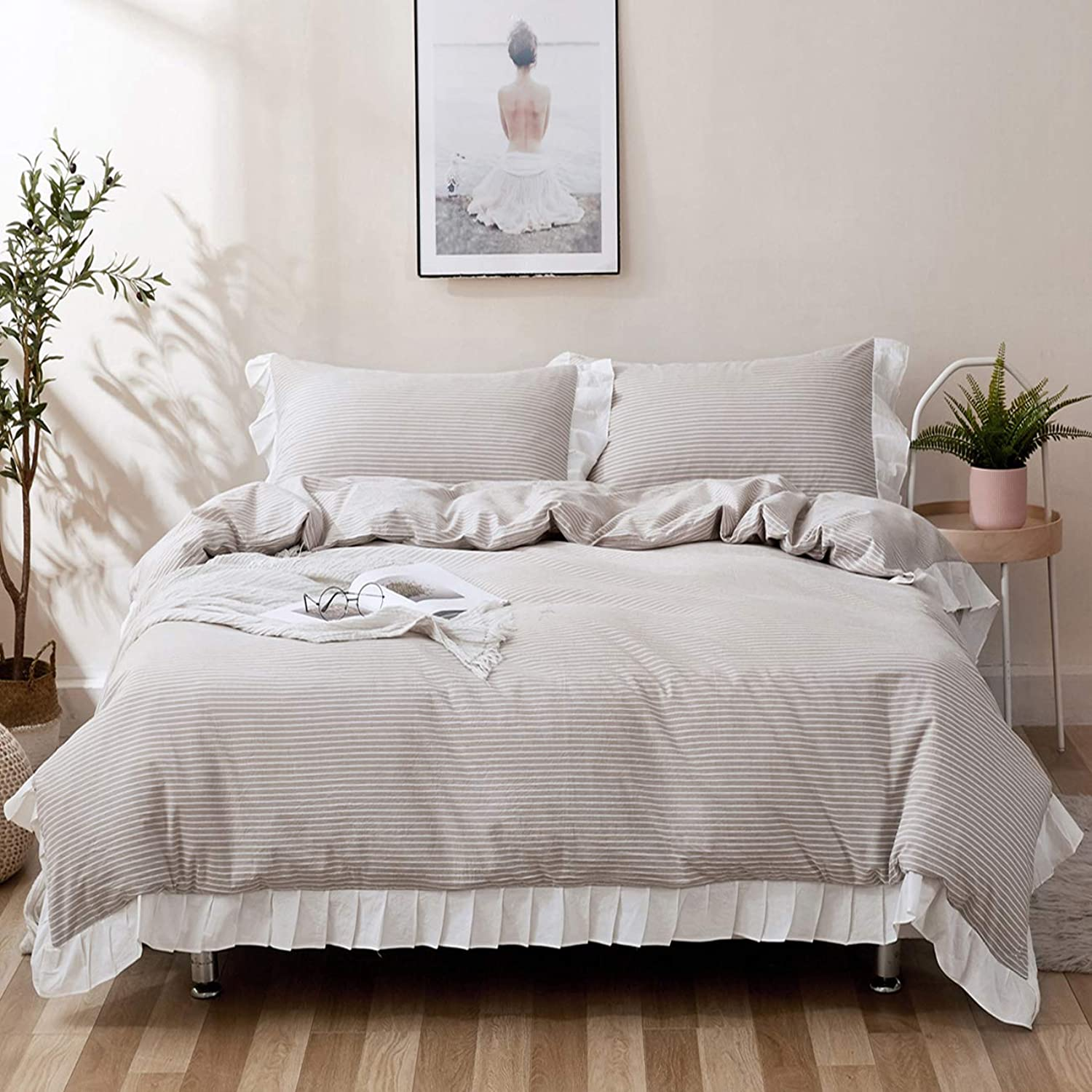 ZYEN Ruffles Duvet Cover Queen Set Ruffles Soft 100% Washed Cotton Stripes Frilled Duvet Cover Set Wrinkle Look Duvet Cover with Zipper Closure (Queen, Beige Stripes)