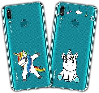 709d48329c7 Reshias 2X Funda Huawei Y7 2019, Cárcasa Silicona Transparente Gel TPU  Protector Bumper Case Cover