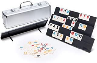 GameQueen Rummy Game Set - Colored Rummy Game with Durable Tiles and Trays, Well Painted Rummy Cube 106 Tiles with Aluminu...