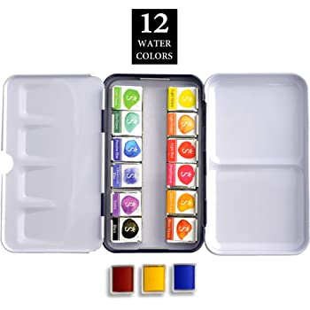 Water Color Paint Set, 12 Colors Art Gallery Quality Collection, Lifelong Brilliance Richest Pigmentation Watercolor Palette Half Pan for Professional Artists SCHPIRERR FARBEN