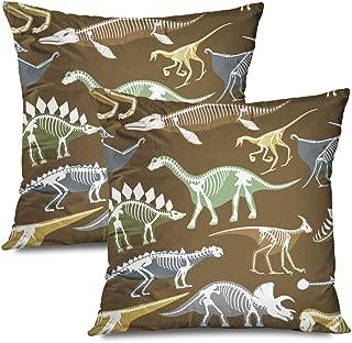 Ahawoso Set of 2 Throw Pillow Covers Square 16x16 Dinosaurs Skeletons Silhouettes Bone Tyrannosaurus Era White Prehistoric Animals Wildlife Textures Zippered Pillowcases Home Decor Cushion Cases