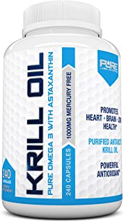 Pure Label Nutrition-Krill Oil 1000mg per Serving w/ Astaxanthin & Phospholipids, 240 caps, Omega 3 6 9 - EPA DHA, 100% Pu...