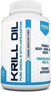 Krill Oil 1000mg with Astaxanthin 240 Caps Omega 3 6 9 - EPA DHA - 100% Purified, Mercury Free and Wild Caught - Non GMO - Gluten Free - Pure Krill Oil - Mega Dose Phospholipids