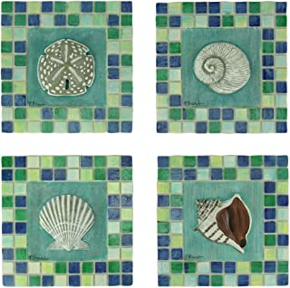 Resin Decorative Wall Plaques Green And Blue Mosaic Seashell Tile Coastal Wall Decor Set Of 4 5.5 X 5.5 X 0.5 Inches Multicolor