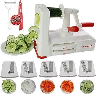 Spiralizer 5 Blade Vegetable Slicer, No-Move Suction Pads, Strong And Durable Veggie Pasta Spaghetti Maker W Blade Drawer. Bonus Ceramic Knife& Peeler