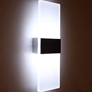 Glighone Apliques de Pared 12W Lámpara de Pared Moderno Luz LED Iluminación Interior Luz de Puro Aluminio para Dormitorio Pasillo Entrada, Blanco Frío