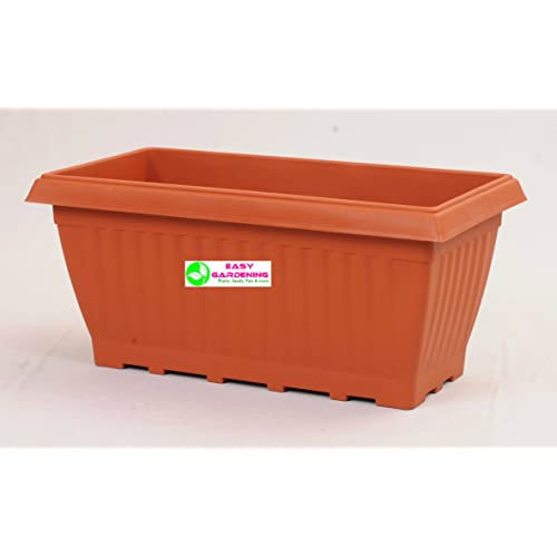Easy Gardening Royal 4 Rectangle Pots - Terracotta Color Planter(Pack of 3)