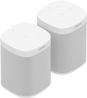 Sonos One Smart Speaker 2-kamerset, wit, intelligente WLAN-luidsprekers met Alexa spraakbesturing en AirPlay, twee multiro...