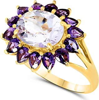 10k Yellow Gold Oval Pear Shape Pink and Purple Amethyst Gemstone Halo Ring For Women